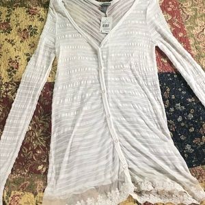 NWT Vanity sheer, white button-down cardigan